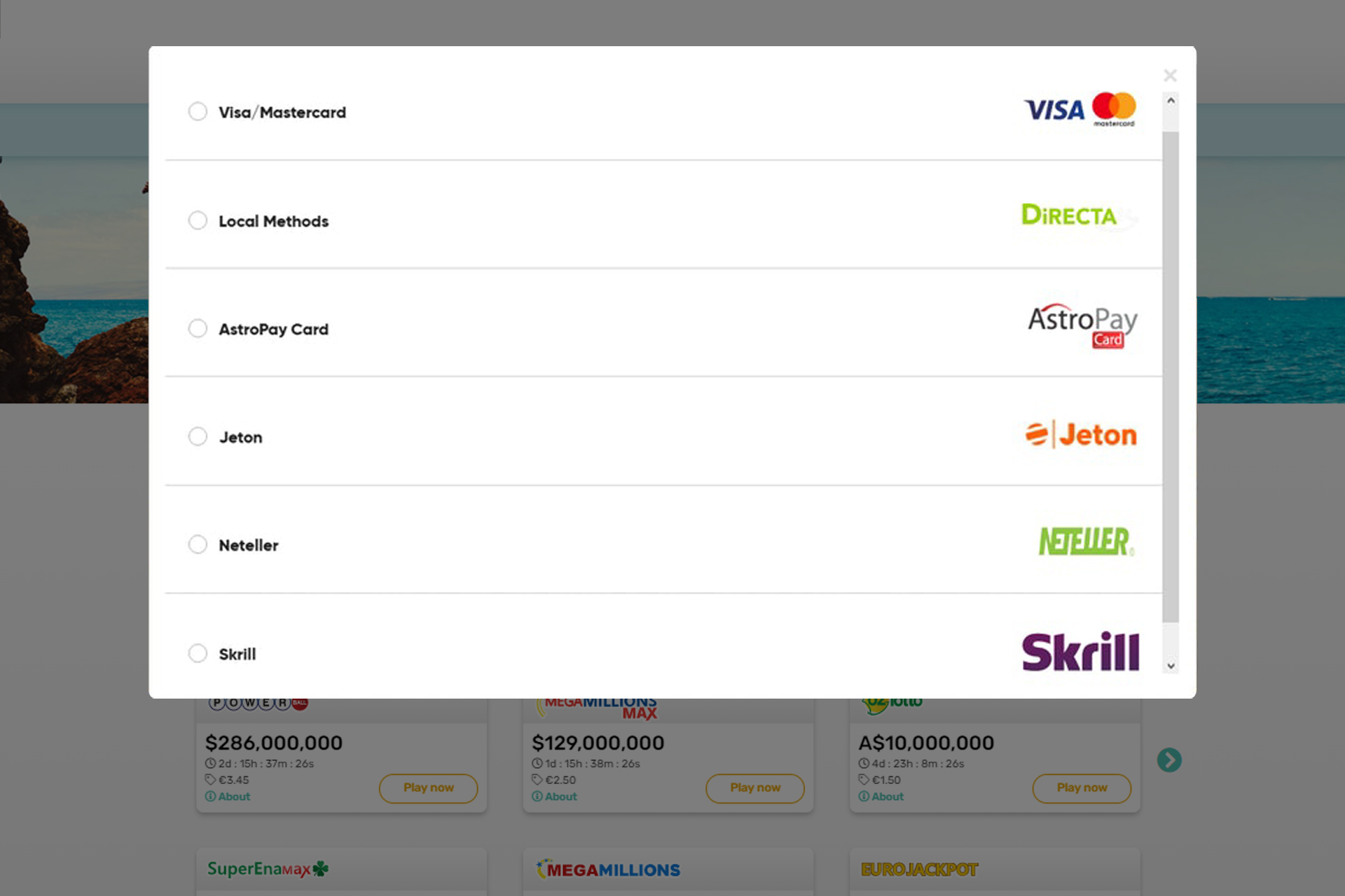 Lotto247 works with all of the most popular payment systems.