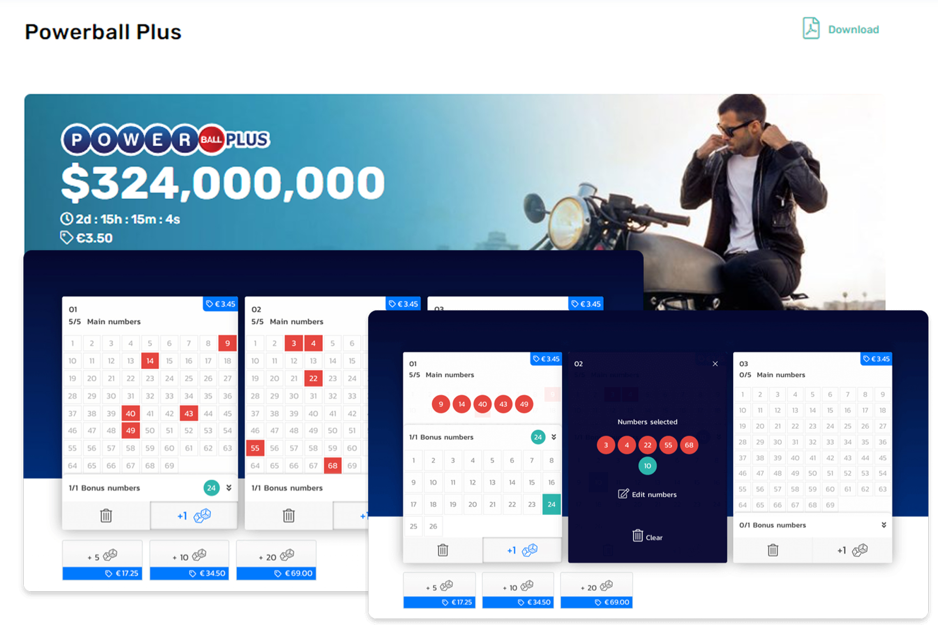 Open the lottery page, buy a ticket and choose numbers.
