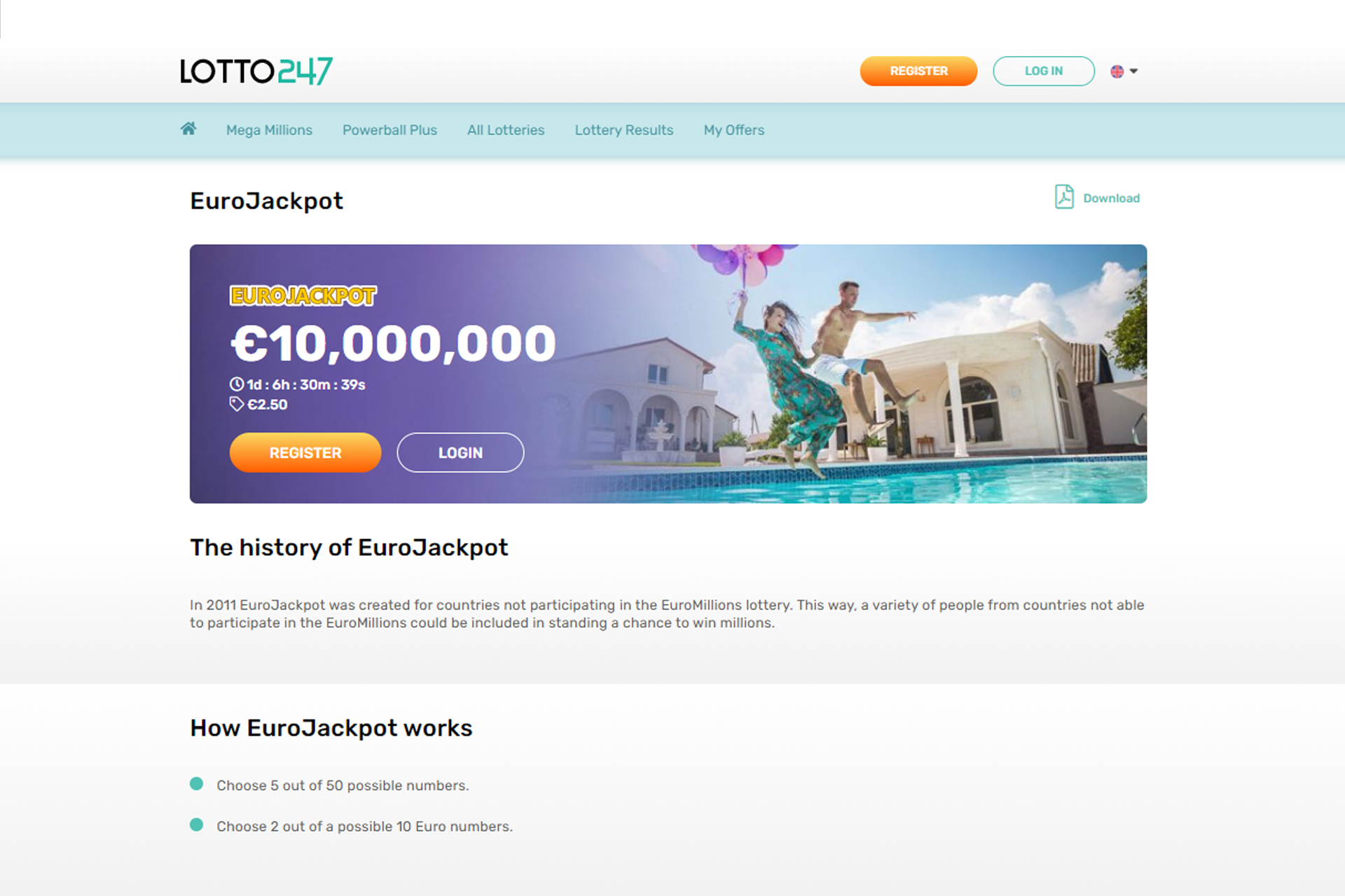 This lottery is for people can't play in EuroMillions lottery.