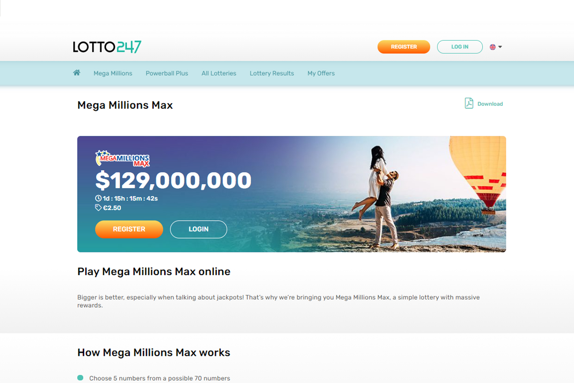 Collect a jackpot over 100 million dollars playing Mega Millions Max.