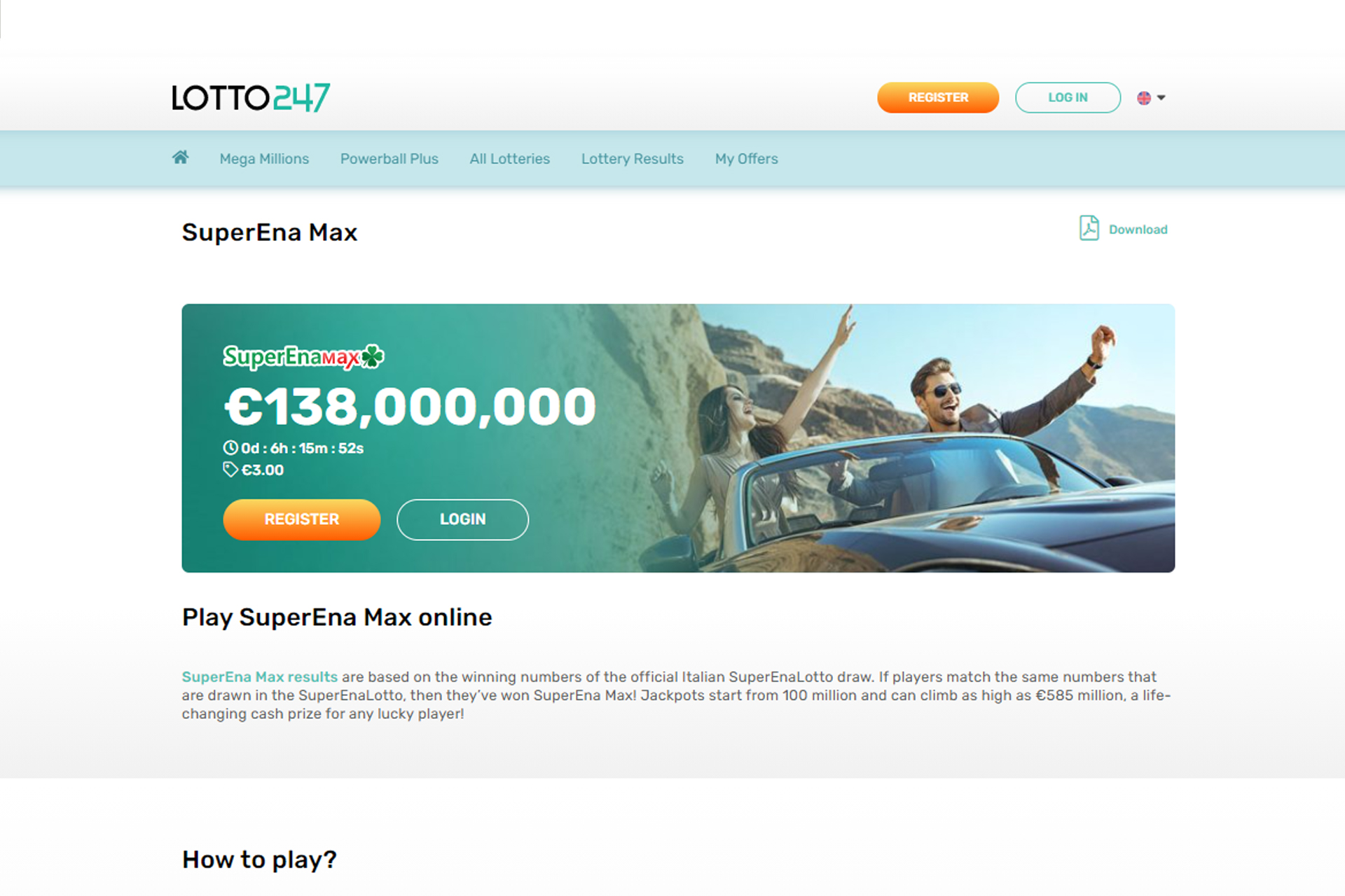 SuperEna Max allows to win a huge jackpot.