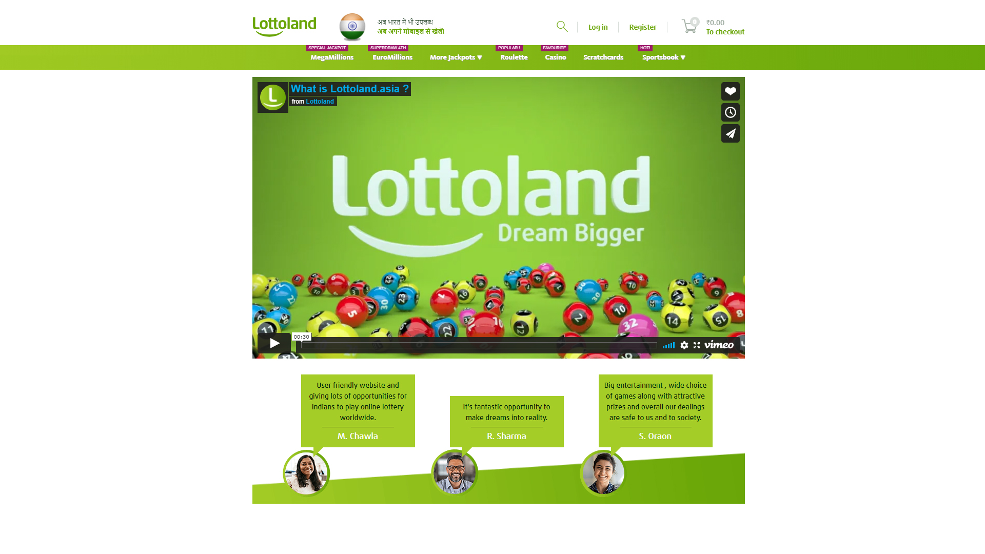 There is a special service Lottoland Asia for users from India.