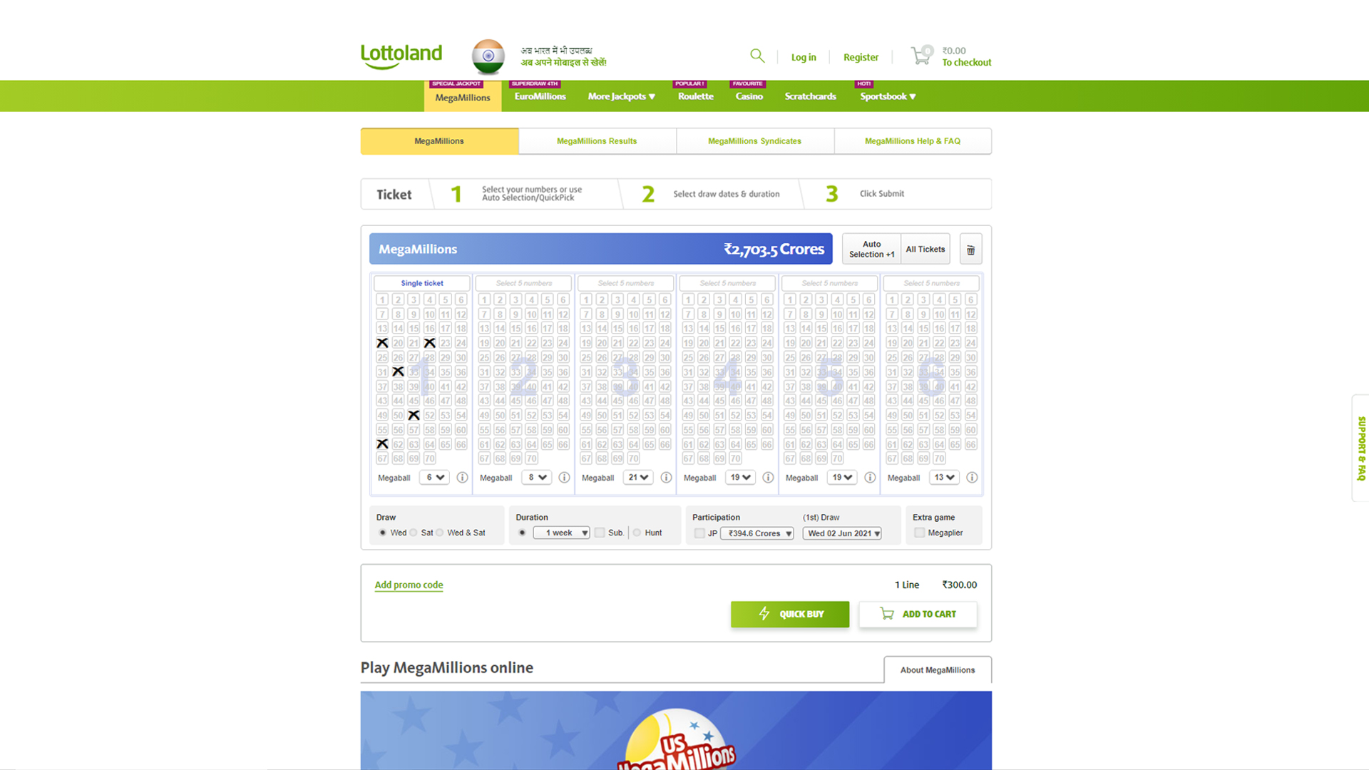 Select 5 numbers and win the biggest prize on Lottoland.