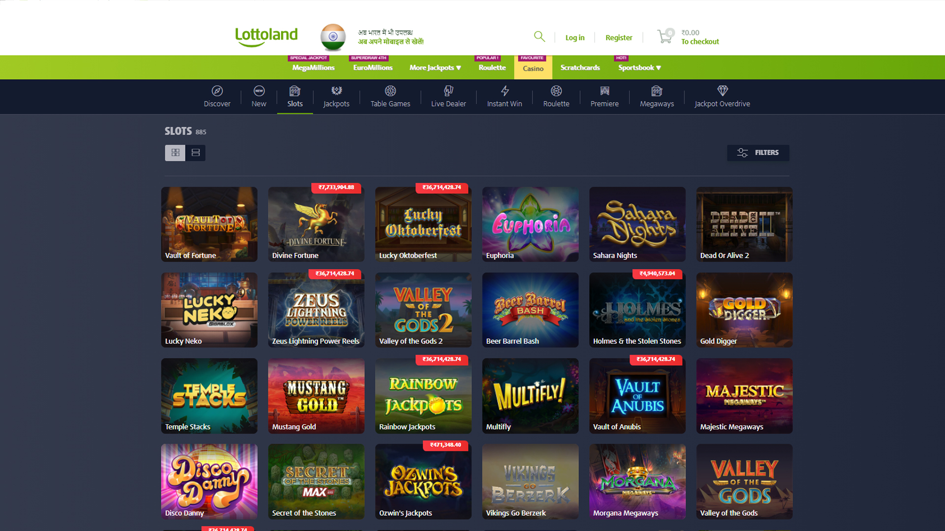 Play slot machines in Lottoland Casino.