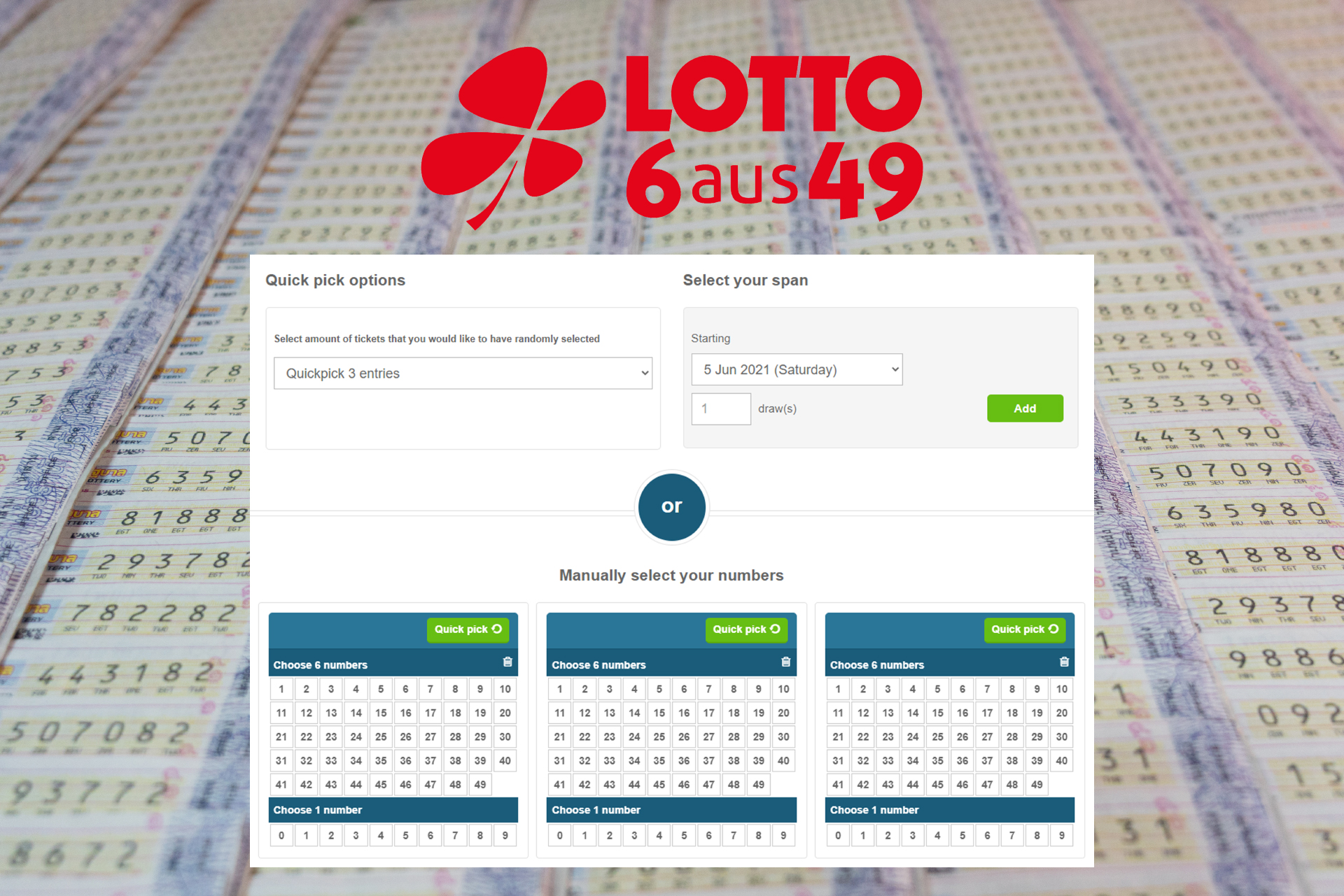 The jackpot of the Lotto 6aus49 is smaller than other lotteries have, but still can change your life.