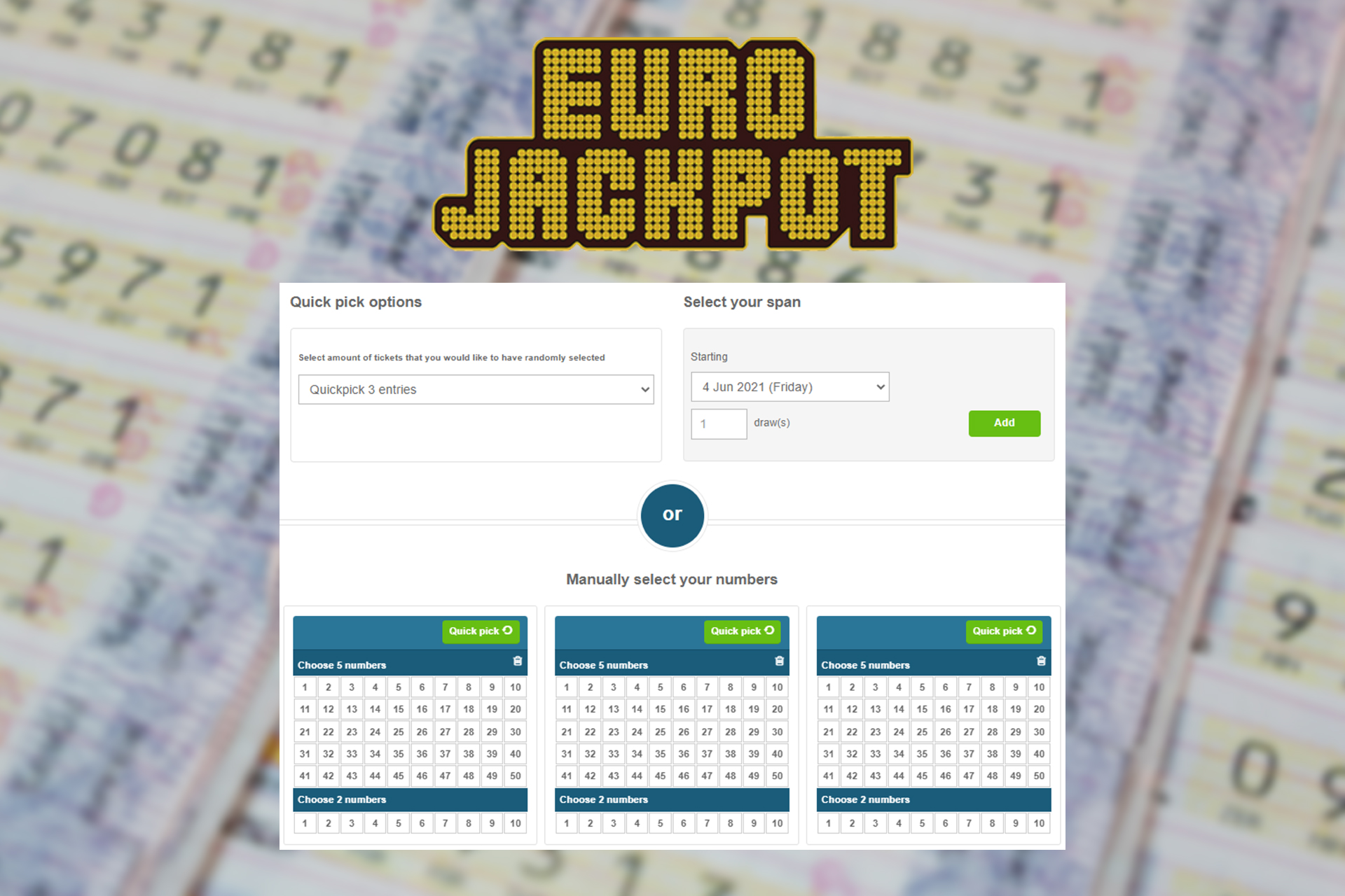 EuroJackpot is an alternative lottery for those users who are not allowed to play Euromillions.