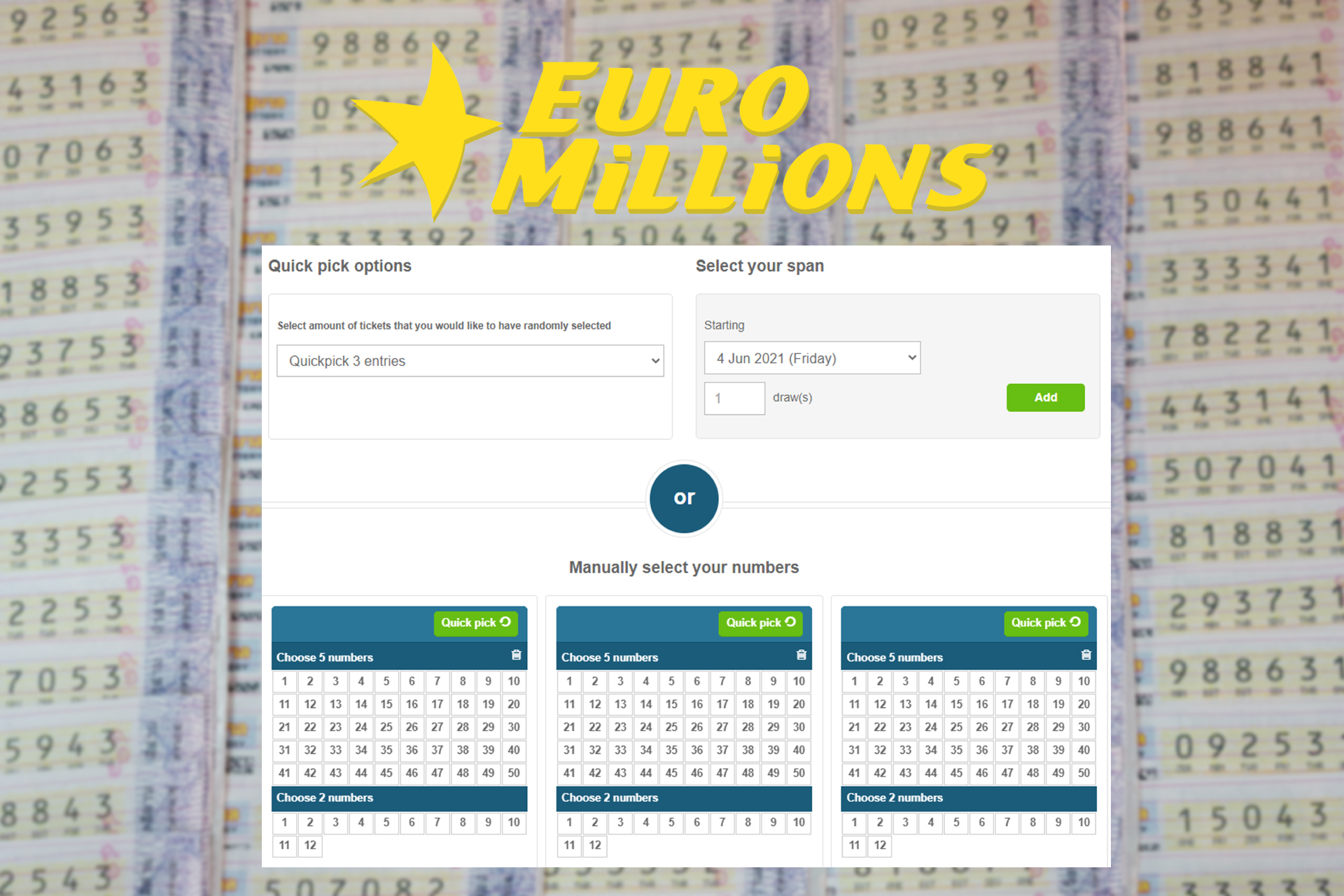 EuroMillions suggests to users to win a jackpot of 190 million euros.