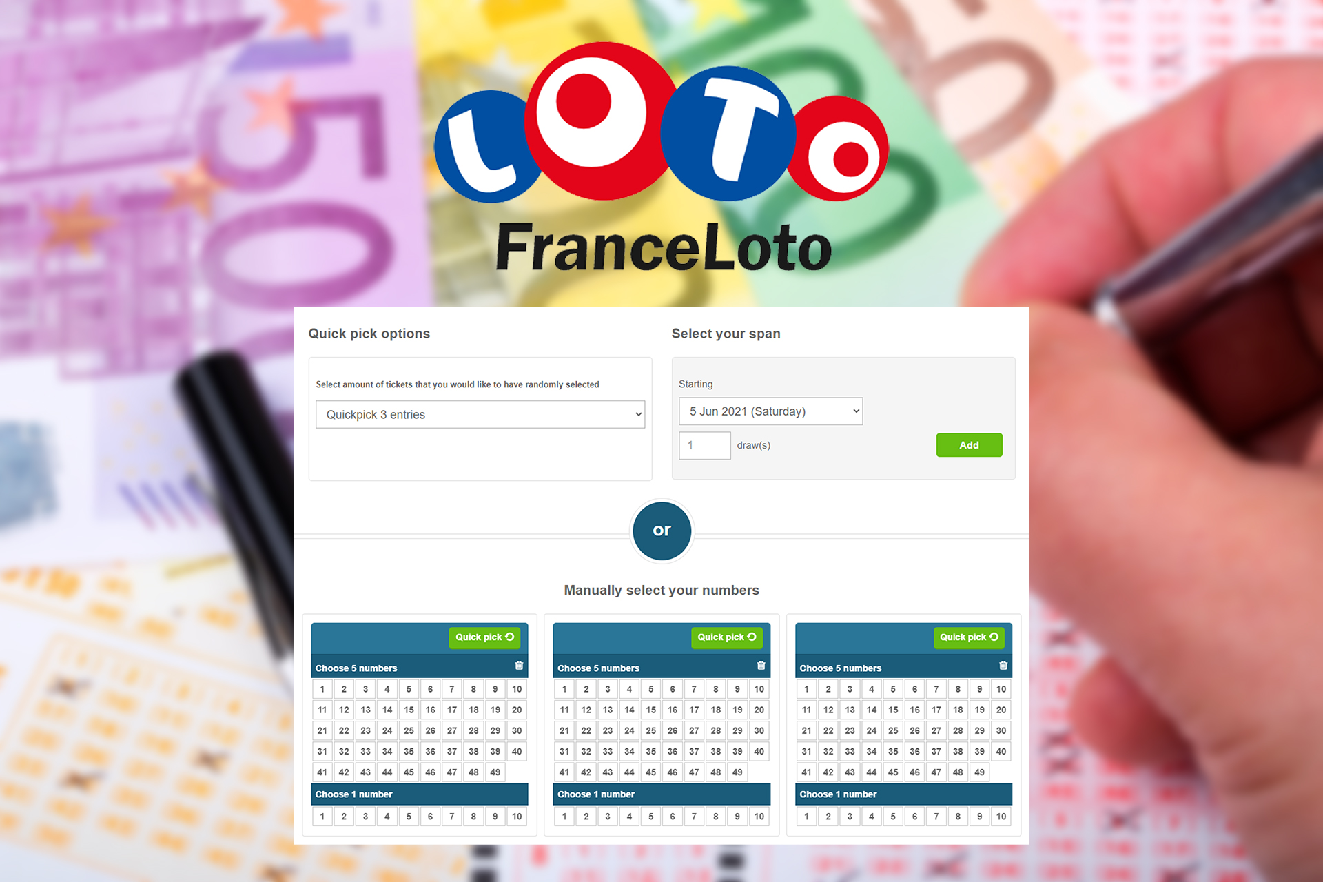 FranceLoto is a popular French lottery that provides jackpots in euros.