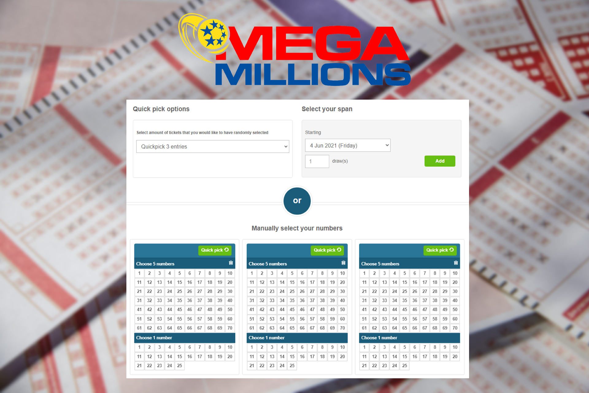 In the Mega Millions lottery, players have to choose 5 numbers.