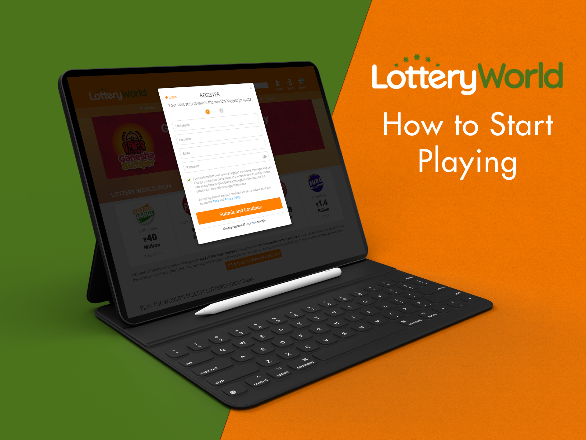 First of all, you need to sign up on the official site of Lottery World.