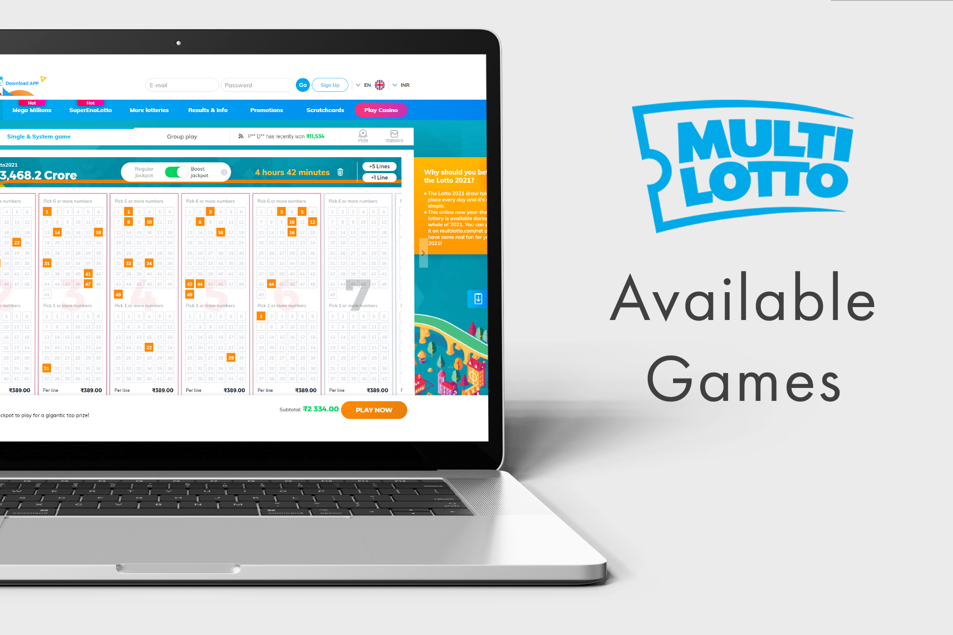 On MultiLotto you can follow the news from a lottery world and play different games.