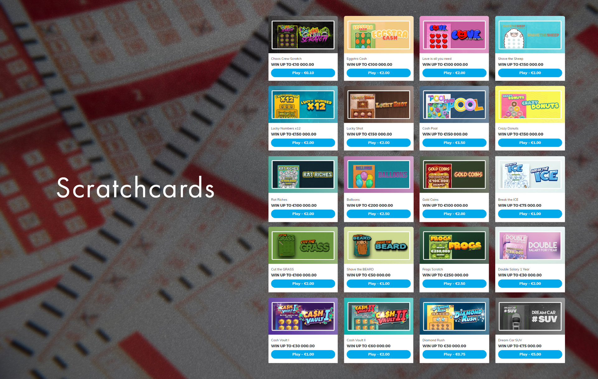 In the Scratchcards section, you can find more than 40 types of instant draws.