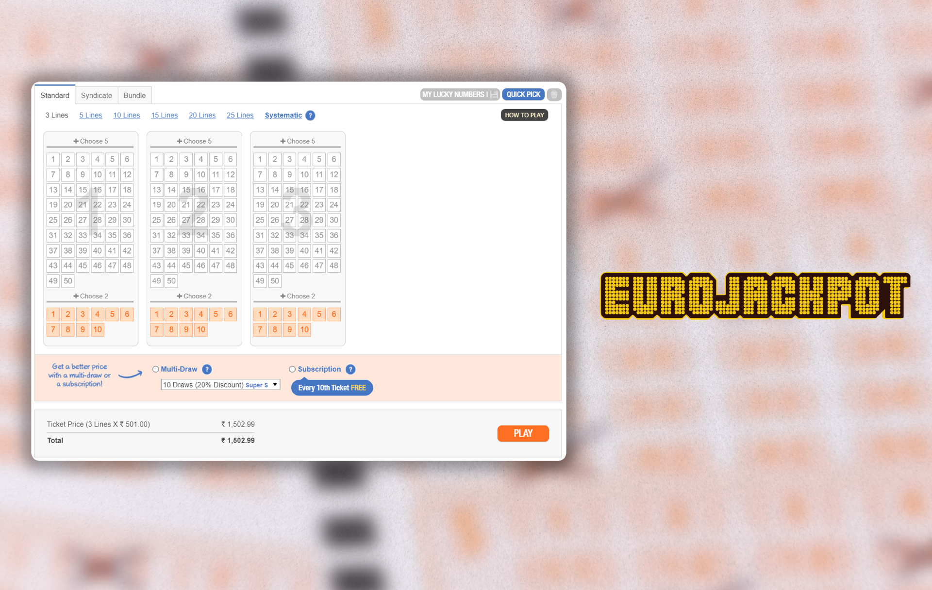 EuroJackpot is held in 9 countries of Europe but you can buy the ticket via TheLotter site from India as well.