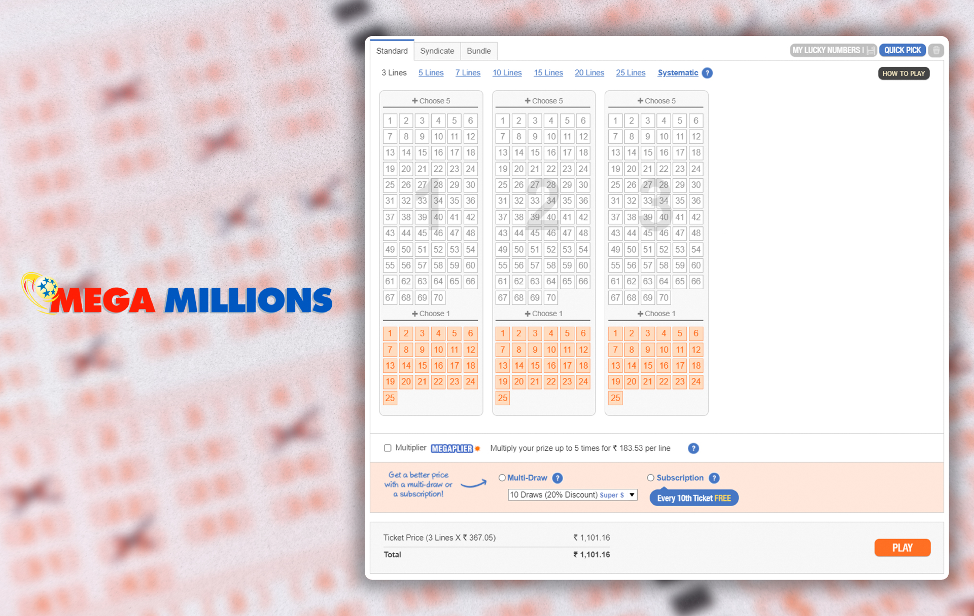MegaMillions is an American lottery with a jackpot from 12 million dollars.
