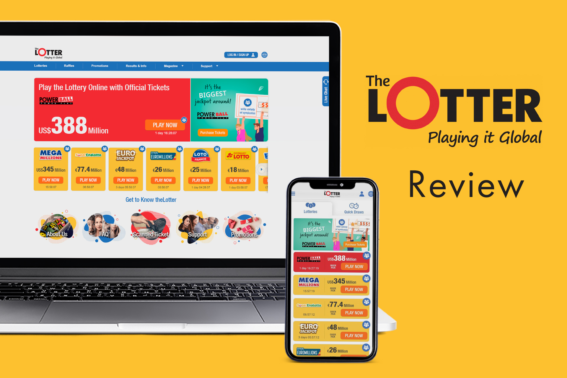 Users of TheLotter can buy tickets to the best international lotteries.